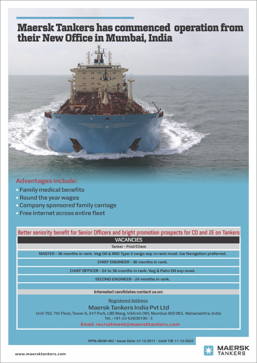 Advertisement of Maersk Tankers India Pvt  Ltd